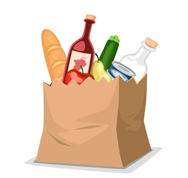 shopping paper bag food vector graphics
