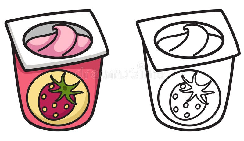 Colorful And Black And White Yogurt For Coloring Book Illustration Of Isolated Sponsored Advertisement Spons Coloring Books Illustration Black And White