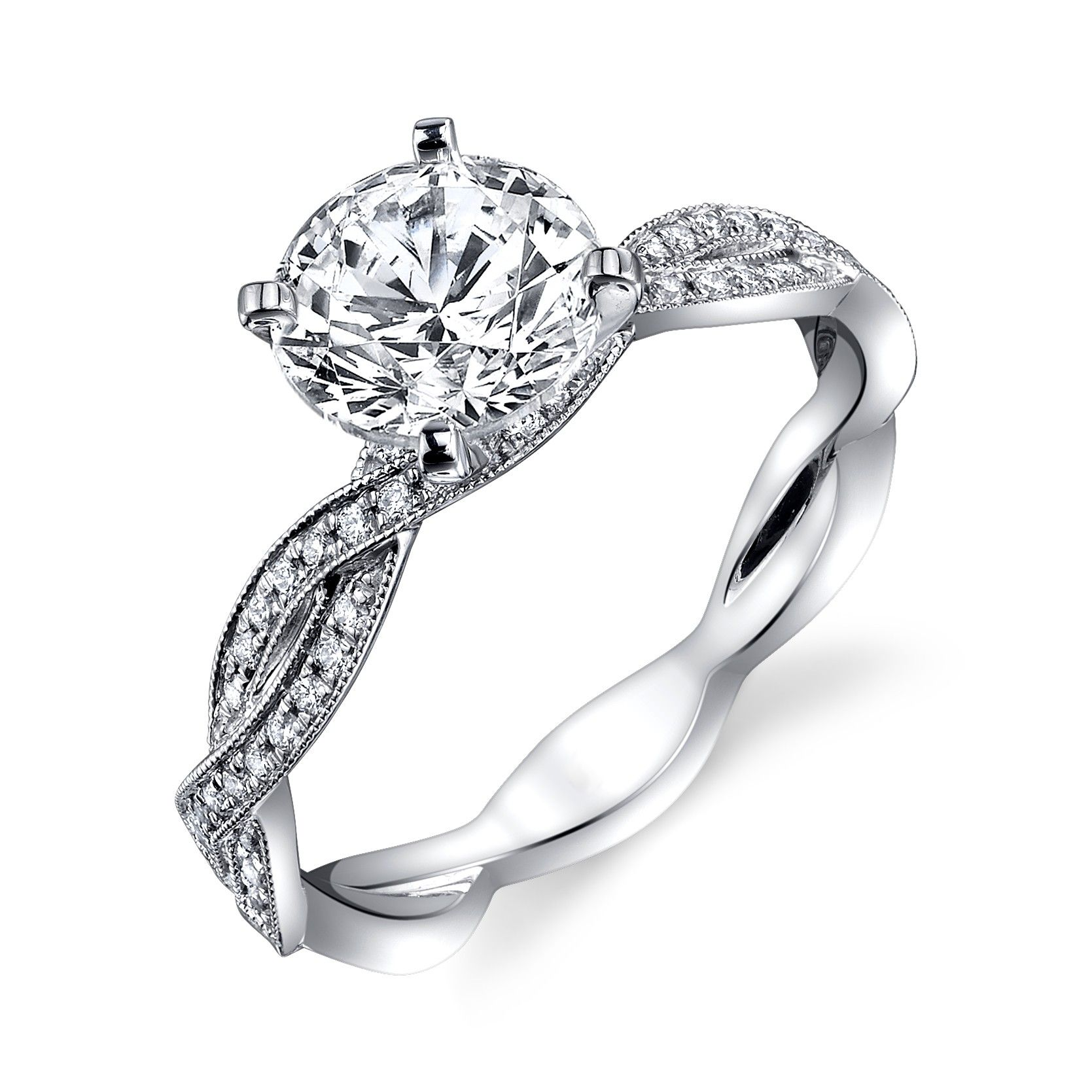 diamond solitaire with twisted band white gold engagement