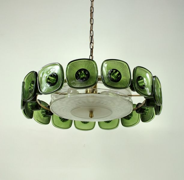 Anonymous brass and glass ceiling lamp 1940s high lighted a swedish green glass chandelier mozeypictures Choice Image
