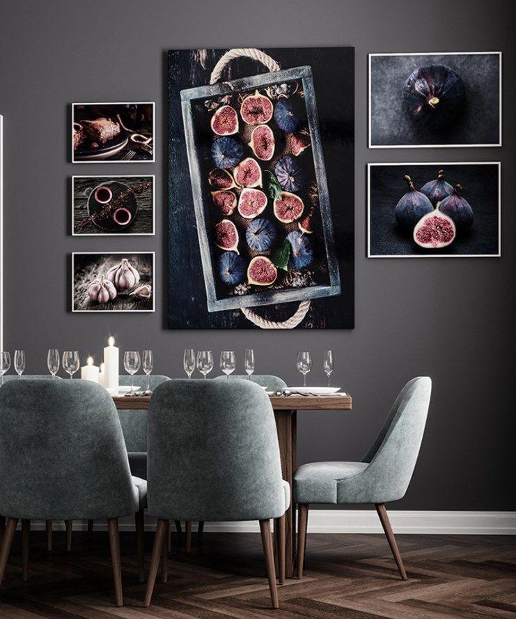 Food Kitchen Poster Wall Art Canvas Print Cake Fig Garlic Flower Tea Painting Decorative Pictures Modern Dining Room Decoration Modern Dining Room Dining Room Wall Art Canvas Art Wall Decor