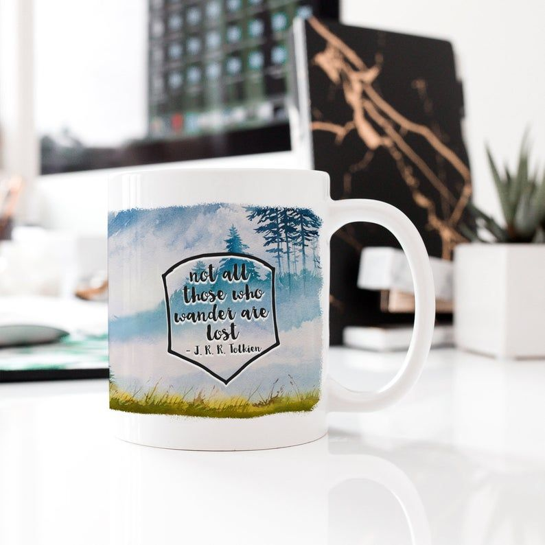 Not All Those Who Wander Are Lost Tolkien Watercolor Mug Forest