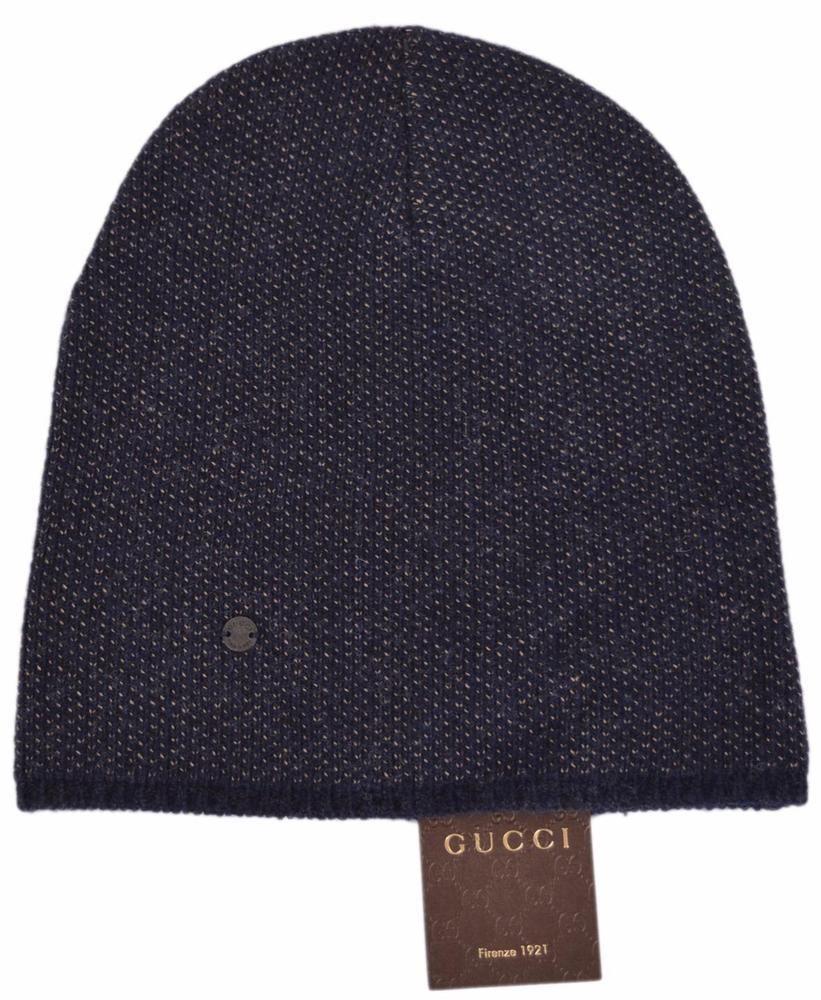 1fffe04b94f2d9 New Gucci 352350 Men's Blue Beige Wool Cashmere Beanie Ski Winter Hat  MEDIUM #Gucci #Beanie