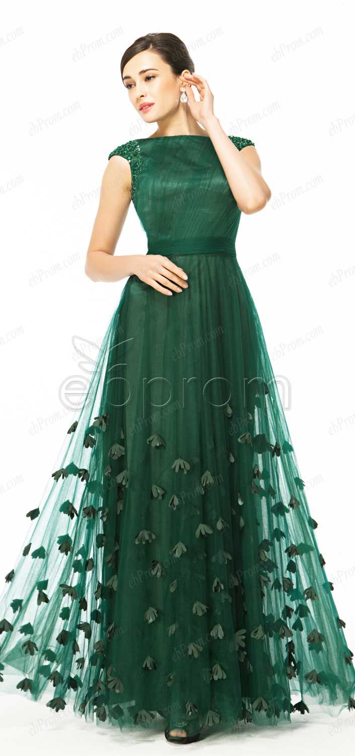 Floral Forest green modest prom dresses with capped sleeves ...