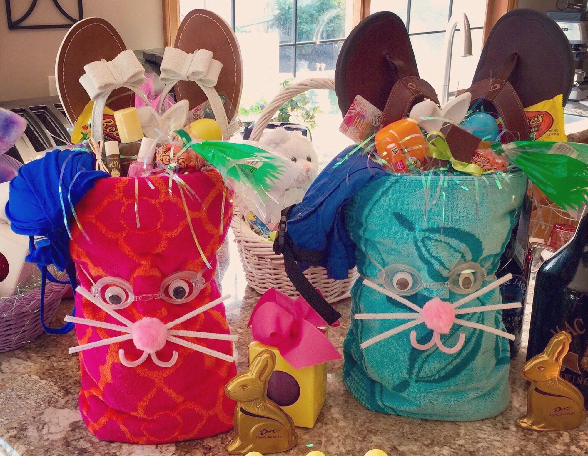 Summer Swim Easter Bunny Basket Roll A Beach Towel Add Flip Flops For The