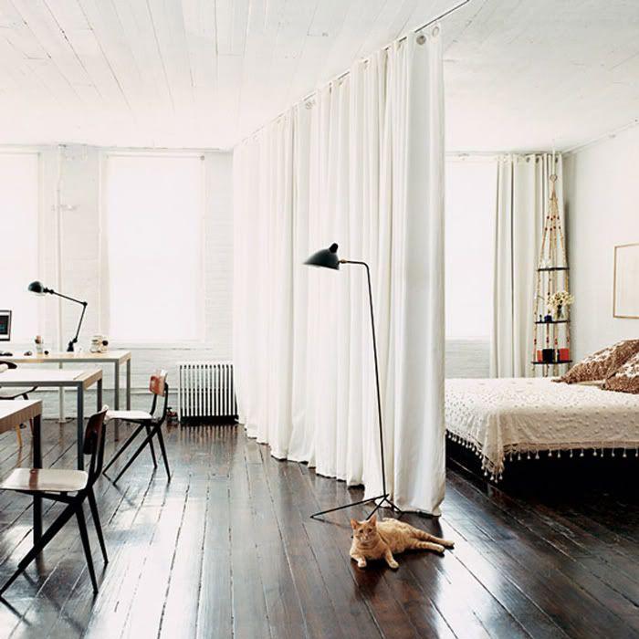Full Length Curtain Room Divider Dark Wood Floor High Ceiling Loft Aesthetic