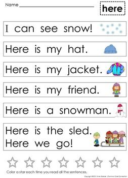 Kindergarten Sight Word Sentences And Games For Guided