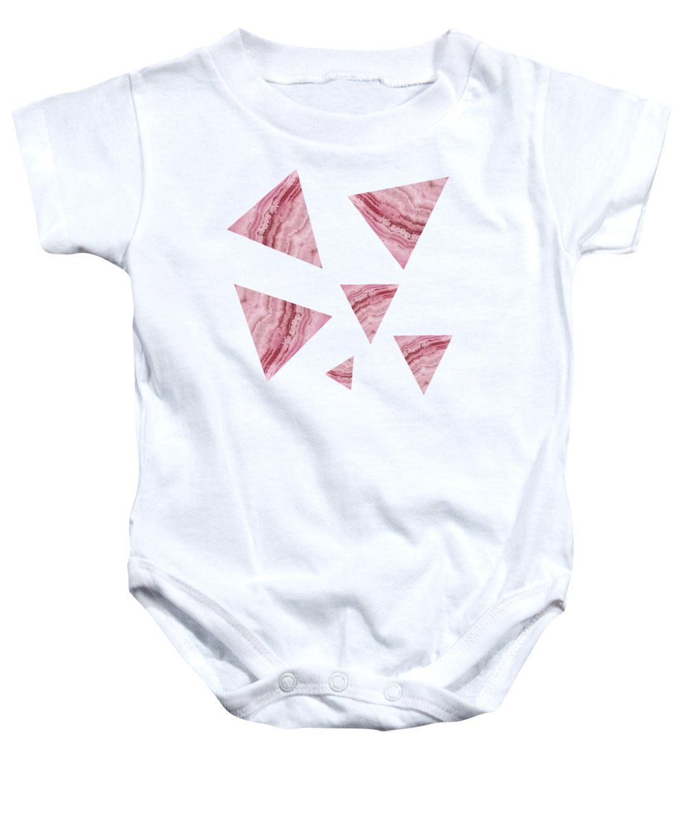f5aa645c2 Pink Blue Lace Agate Triangles On Grey Onesie for Sale by Rachel ...