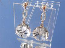 $225.00 14kt Round Crystal and Ocular Aquamarine Dangle Earrings  Heart of Jewels, Ruby Lane