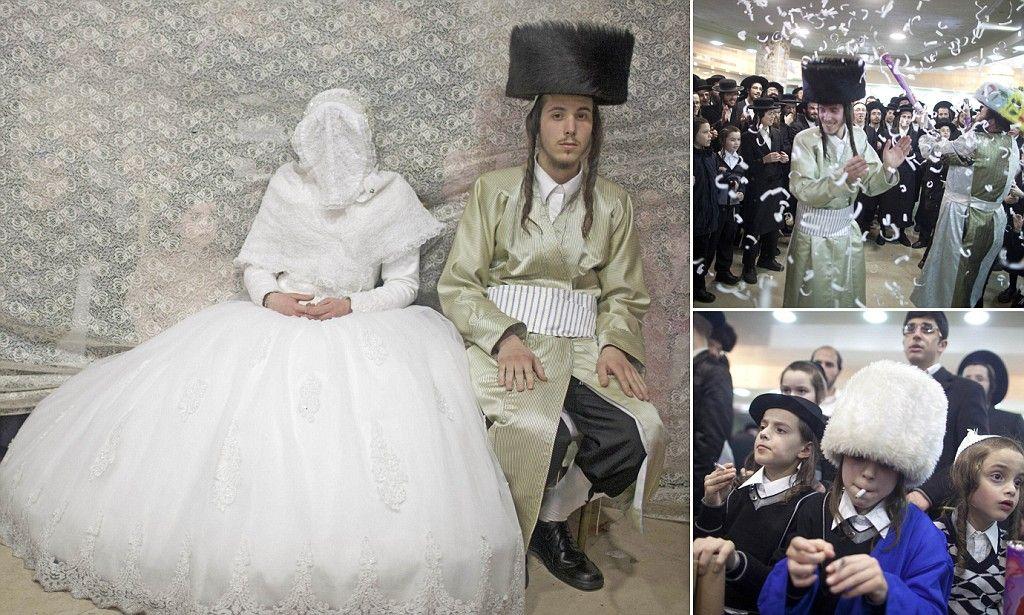 Young couple's ultraorthodox Jewish wedding in Jerusalem