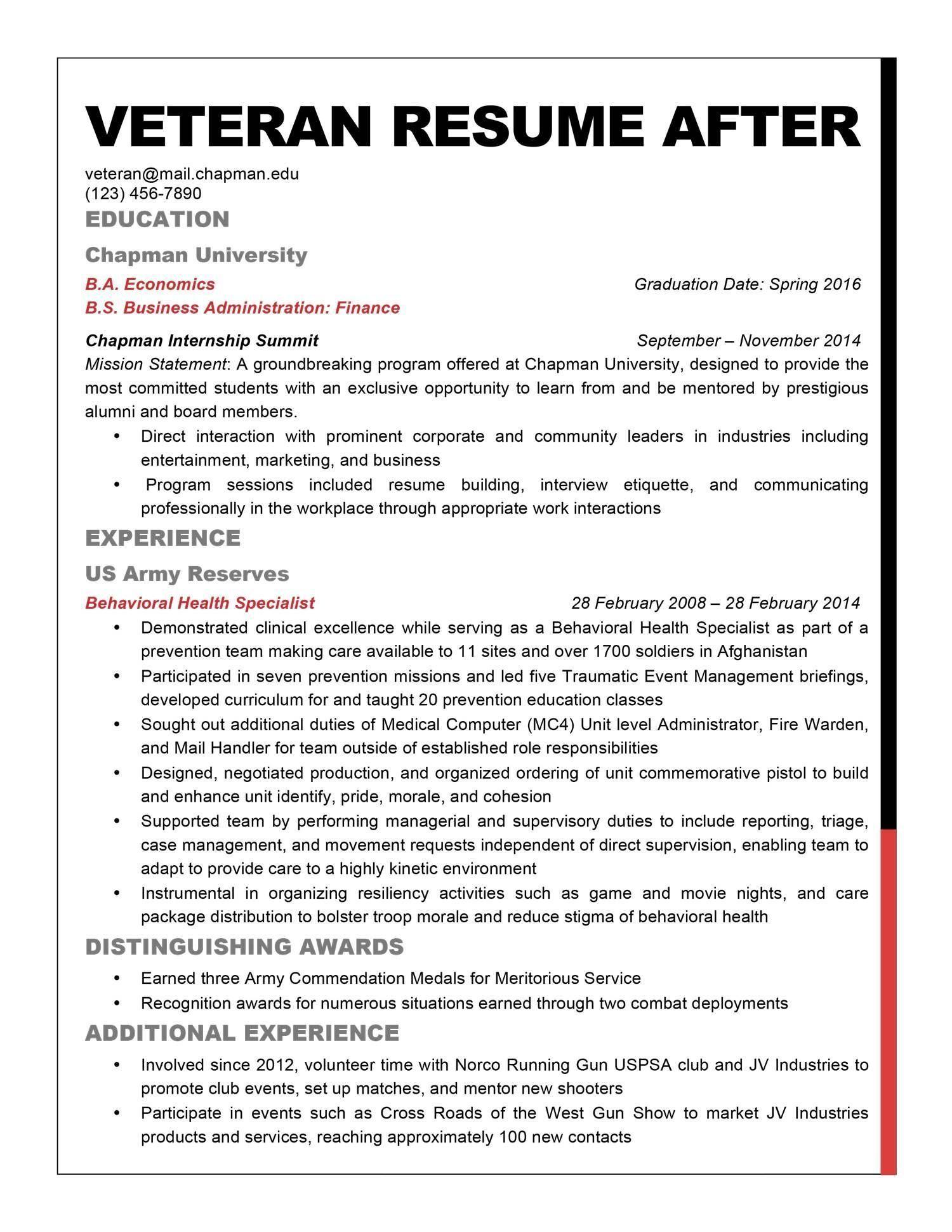 Resume Help For Veterans