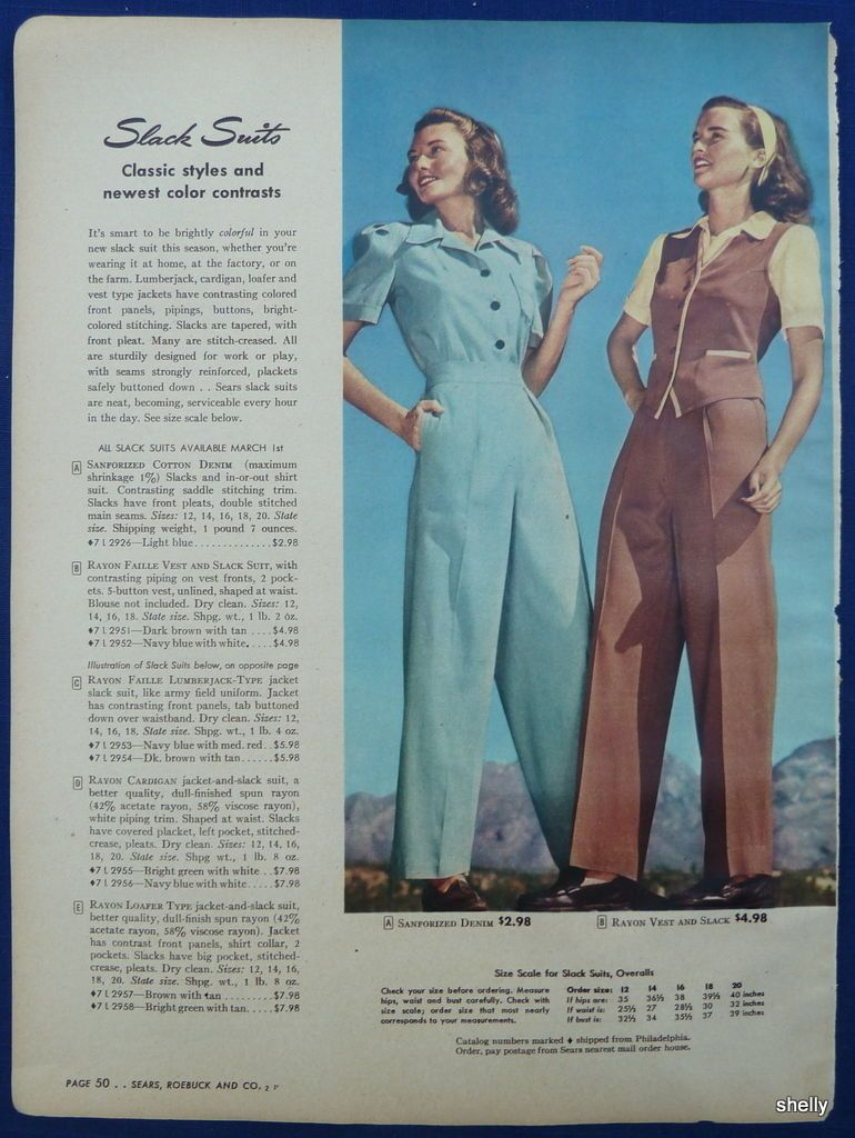 caa43448b67a6 Slack Pant Suit Womens Clothing Spring Summer Vintage 1940s Sears ...