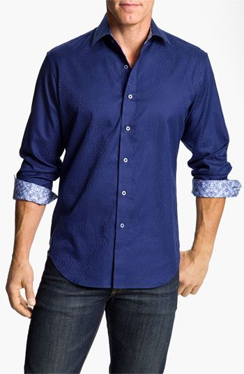 3ac2485f3c01 Robert Graham 'Windsor' Sport Shirt available at #Nordstrom All men look  great in blue! You can't go wrong with a blue button up shirt and jeans