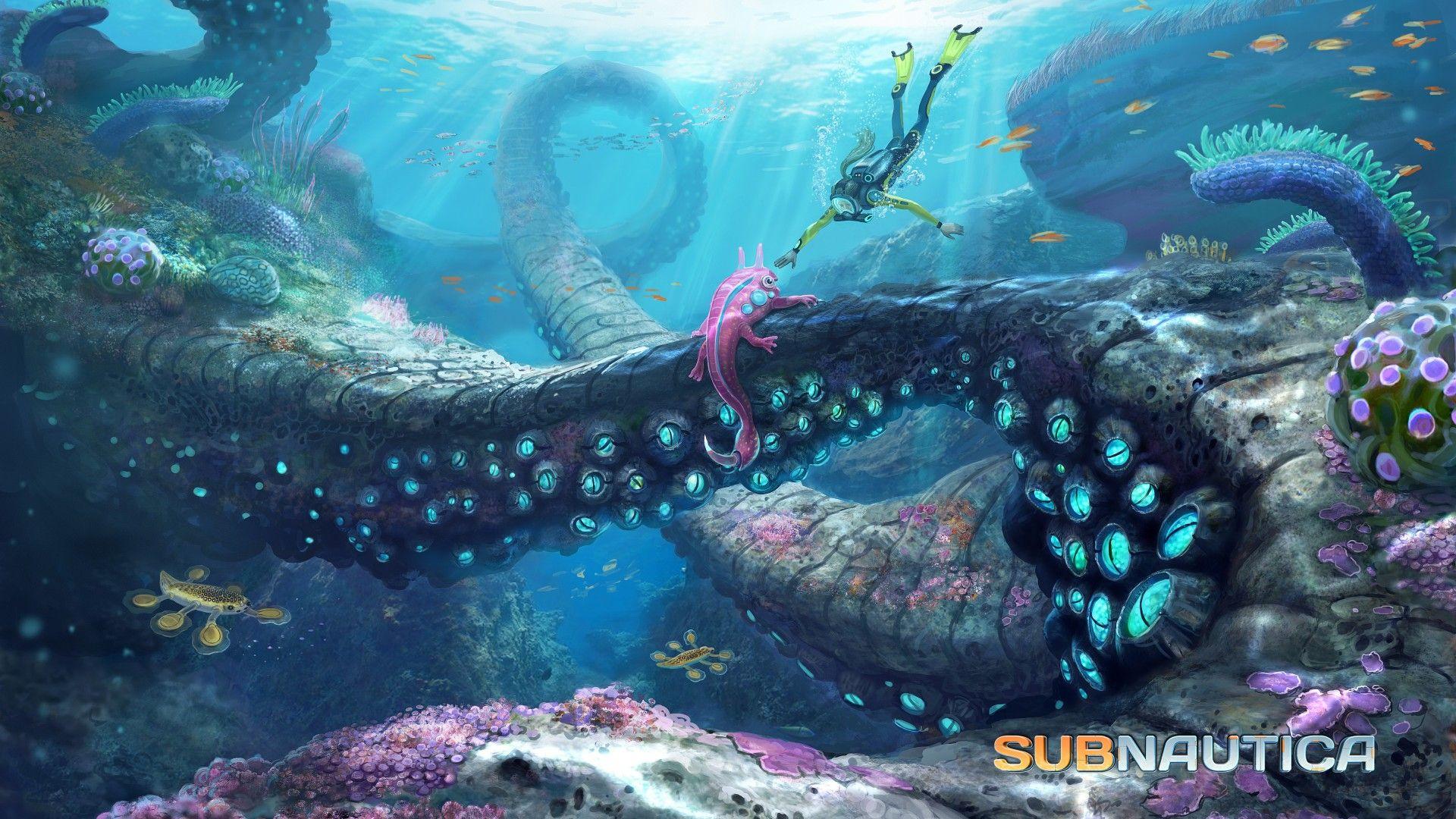 Subnautica Wallpaper Games Adventure Subnautica 2015 Game Diving Tentacles Octopus Sea Diver Bottom Blue S Subnautica Concept Art Concept Art Art