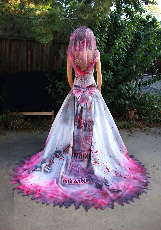 Pink Brains Undead Zombie Bride, Prom Queen, Debutante Costume.