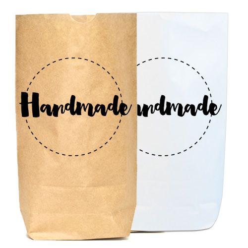 """Papierbeutel bedruckt """"Handmade""""Du bist auf der Suche nach einer ausgefallenen Geschenkverpackung um Deine selbstgemachten Schätze zu..."""