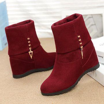 Metal Decoration Wedge Heel Increasing Slip On Folded Boots