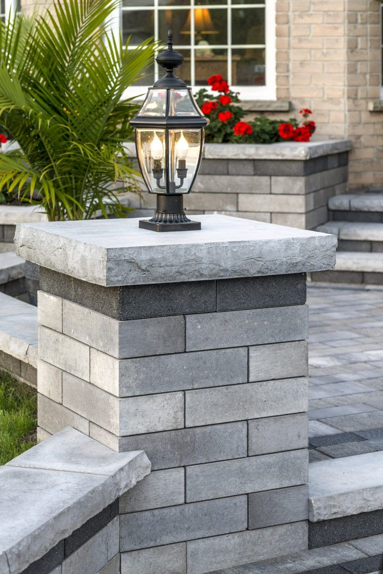 Closeup of a Unilock Lineo Pillar - Photos | Front walkway ... on Unilock Patio Ideas id=76468
