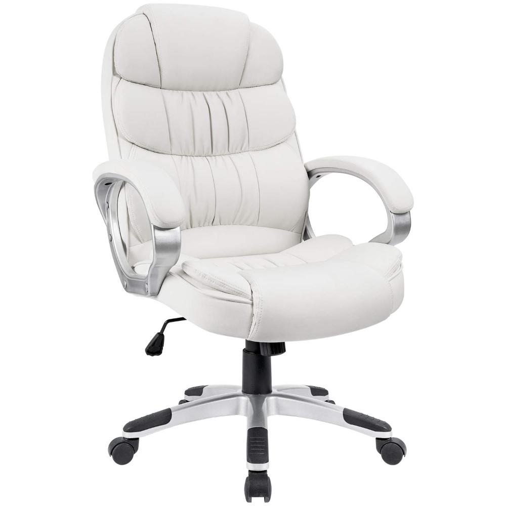 Walnew High Back Ergonomic Executive Office Chair Pu Leather White Walmart Com Ergonomic Desk Chair White Office Chair Comfortable Computer Chair