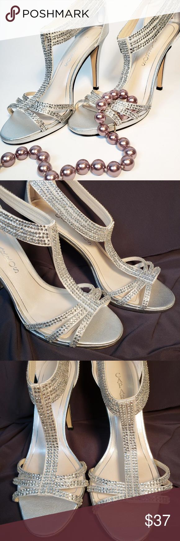 fb8361cb087b Caparros jeweled silver strappy heels