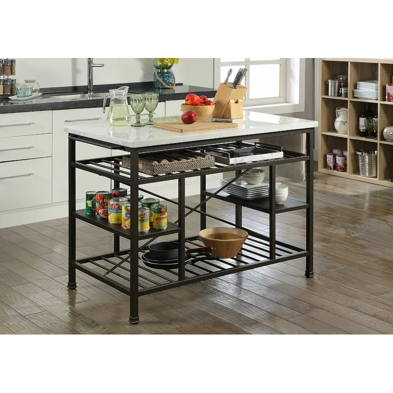 Detlev Prep Table With Marble Top Marble Top Kitchen Island Marble Kitchen Island Kitchen Marble