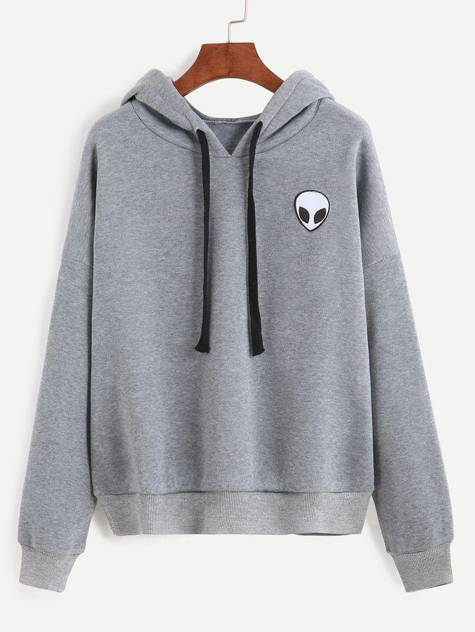 Shein Alien Print Hooded Sweatshirt  447184f52