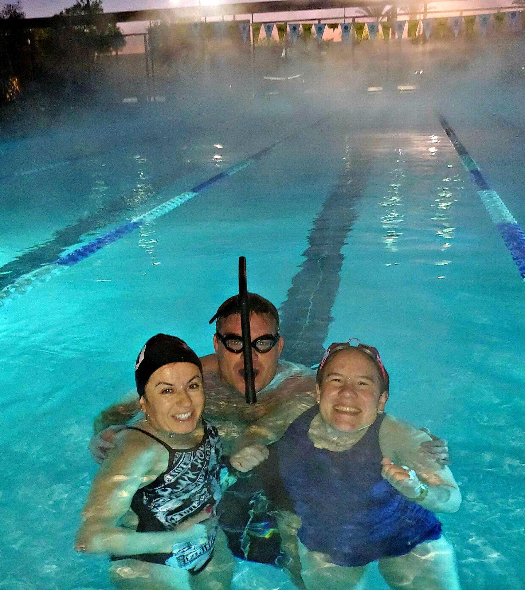 Cold morning swim in a heated pool heatedpool swimming