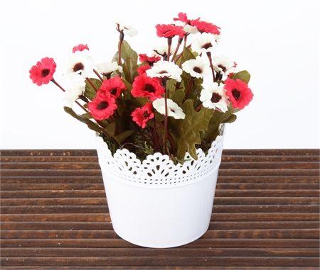 Mary Case Saksılı Yapay Çiçek 649D Papatya Kırmızı-Beyaz                                   (MGZ0033116)