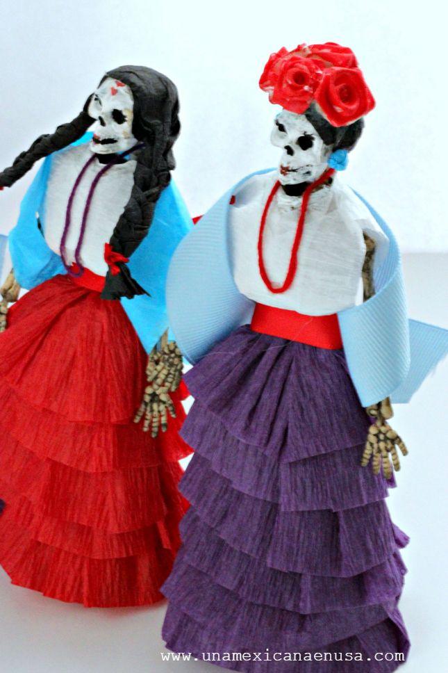 Calaveras Decoradas Con Papel Crepé Vestidos De Calaveras
