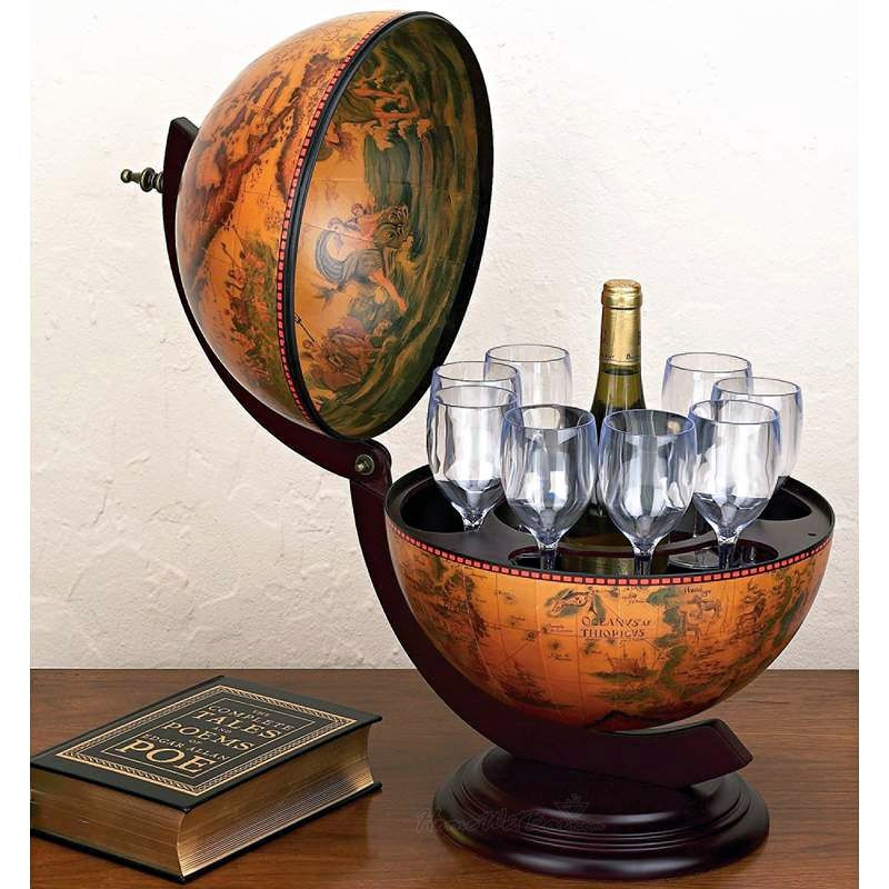 Amazing Tabletop 16th Century Italian Replica Globe Bar   13u201d Diameter  Gift Idea