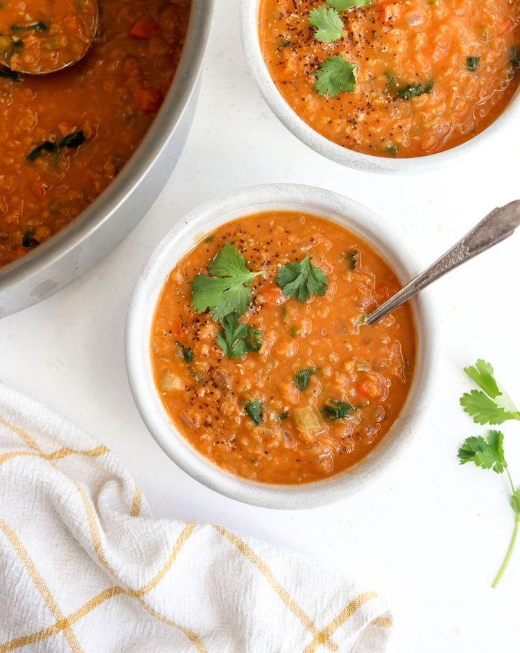 Perfect Red Lentil Soup Vegan Detoxinista Recipe In 2020 Red Lentil Soup Lentil Soup Vegan Lentil Soup