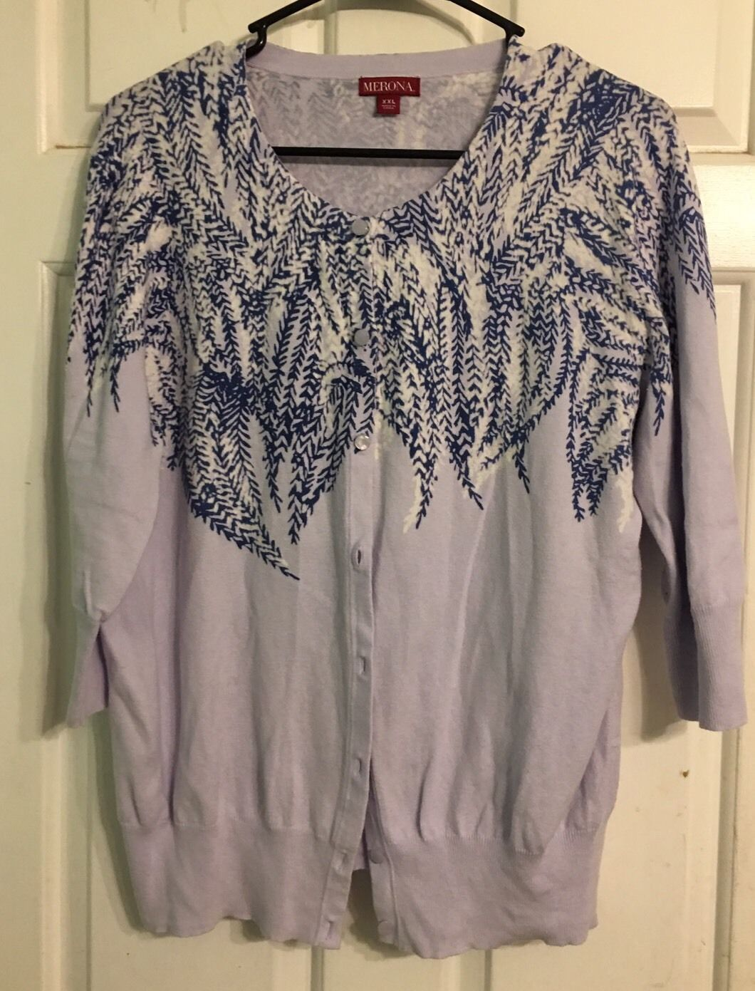 Merona Womens Plus Size 2X XXL Light Purple Floral Cardigan ...