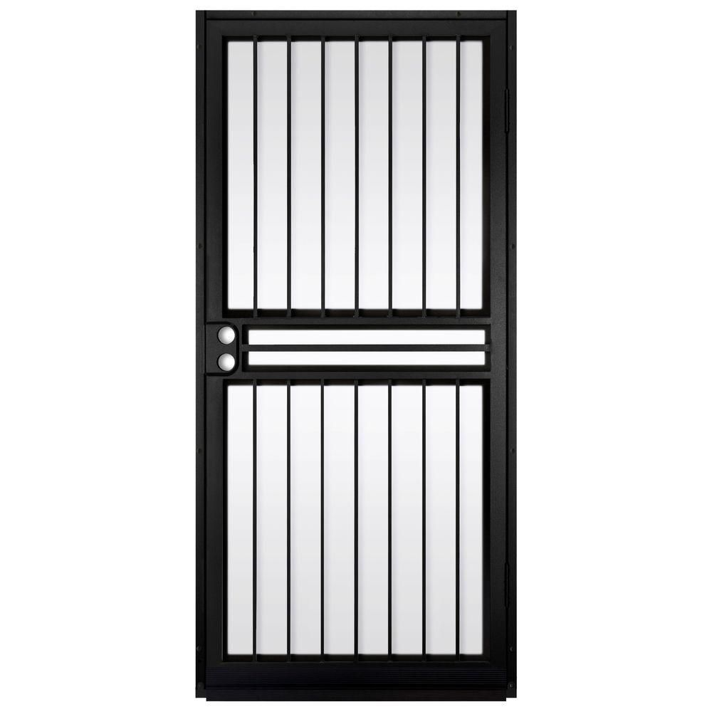 Unique Home Designs 36 In. X 80 In. Guardian Black Surface Mount Outswing  Steel Security Door With Shatter Resistant Glass IDR10000362004   The Home  Depot