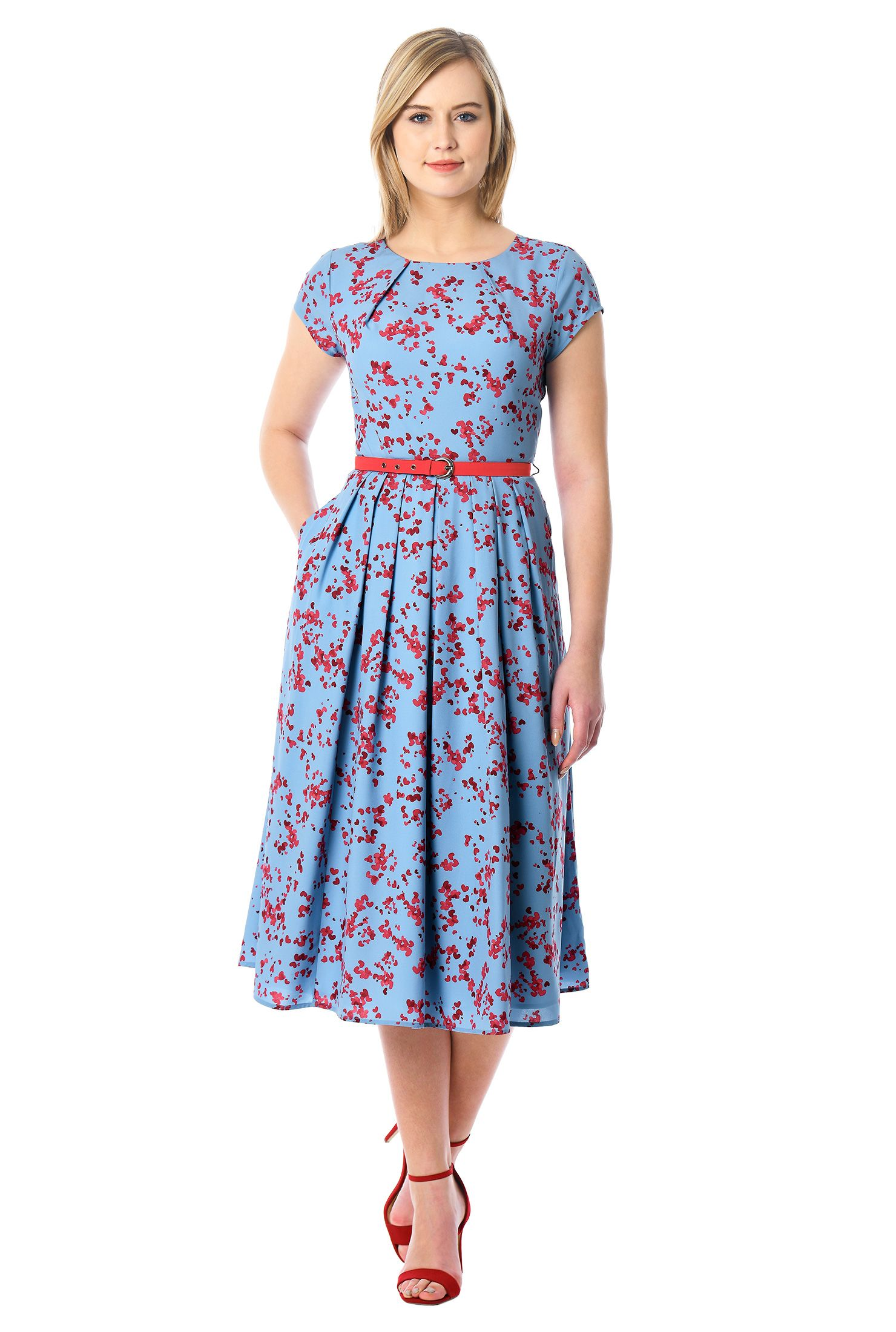 Pleat neck belted floral print crepe dress crêpes bodice and feminine