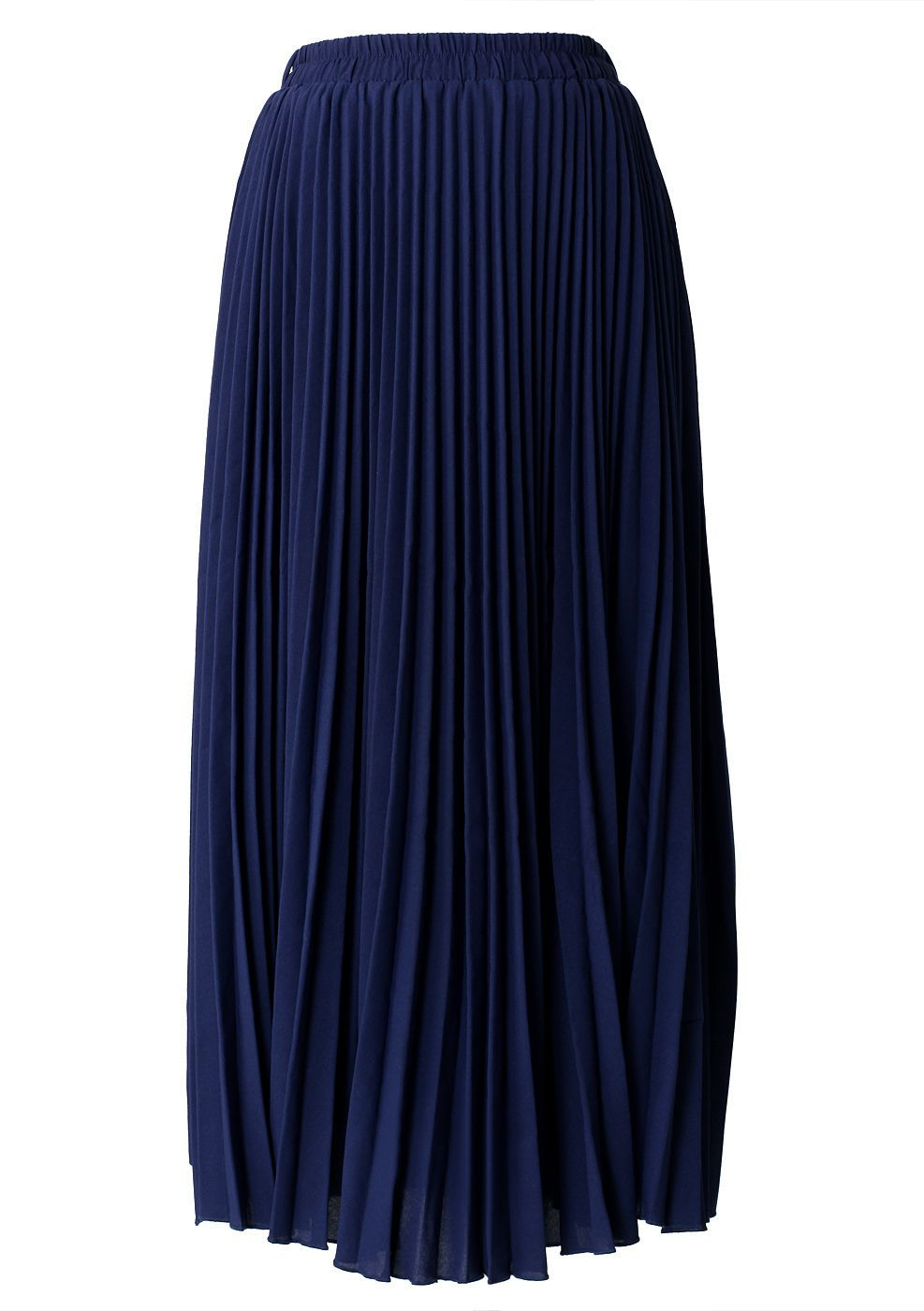 6680c999806b Navy Blue Pleated Maxi Skirt | WOMEN'S CLOTHING | Pleated maxi ...