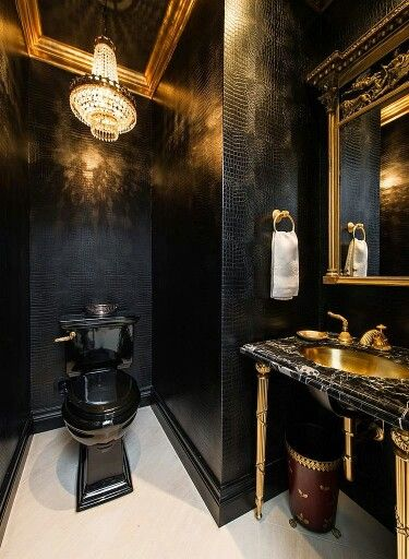 Traditional Black And Gold Powder Room In 2019