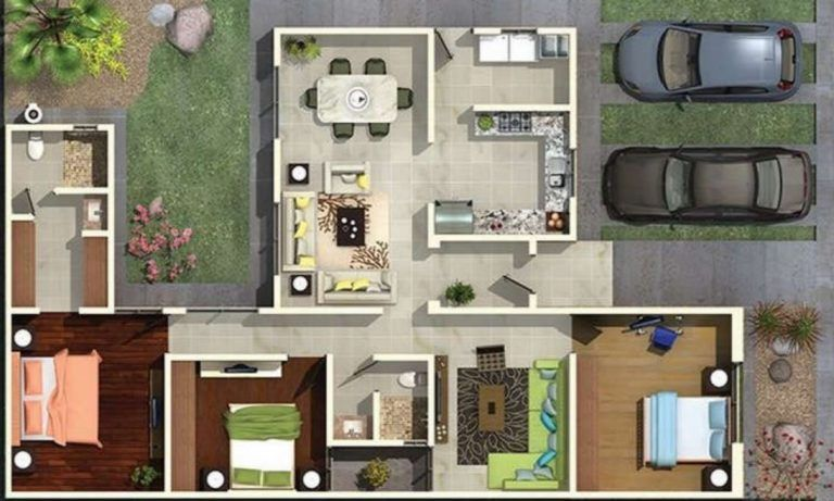 Diseno De Casa De 3 Habitaciones Y 2 Banos Disenos De Casas Planos De Casas Planos De Casas 3d