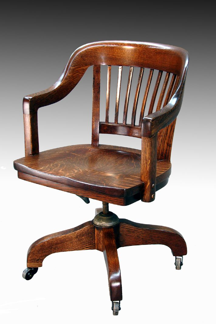 Office furniture - SOLD Tiger Oak Lawyer's Curved Back Office Chair Antique