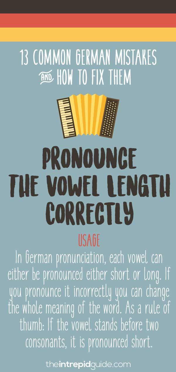 Common German grammar mistakes - Short and long pronunciation