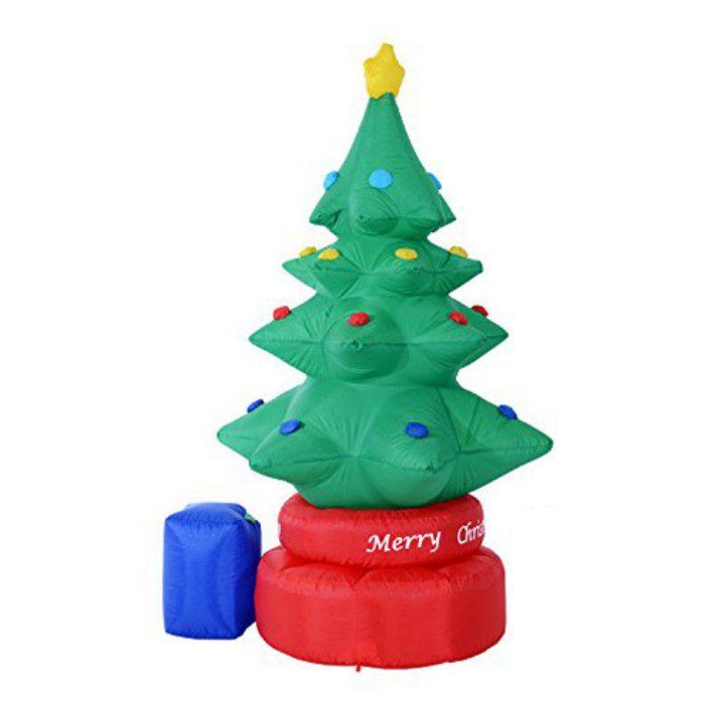HomCom 7 ft Rotating LED Light Inflatable Outdoor Christmas Tree