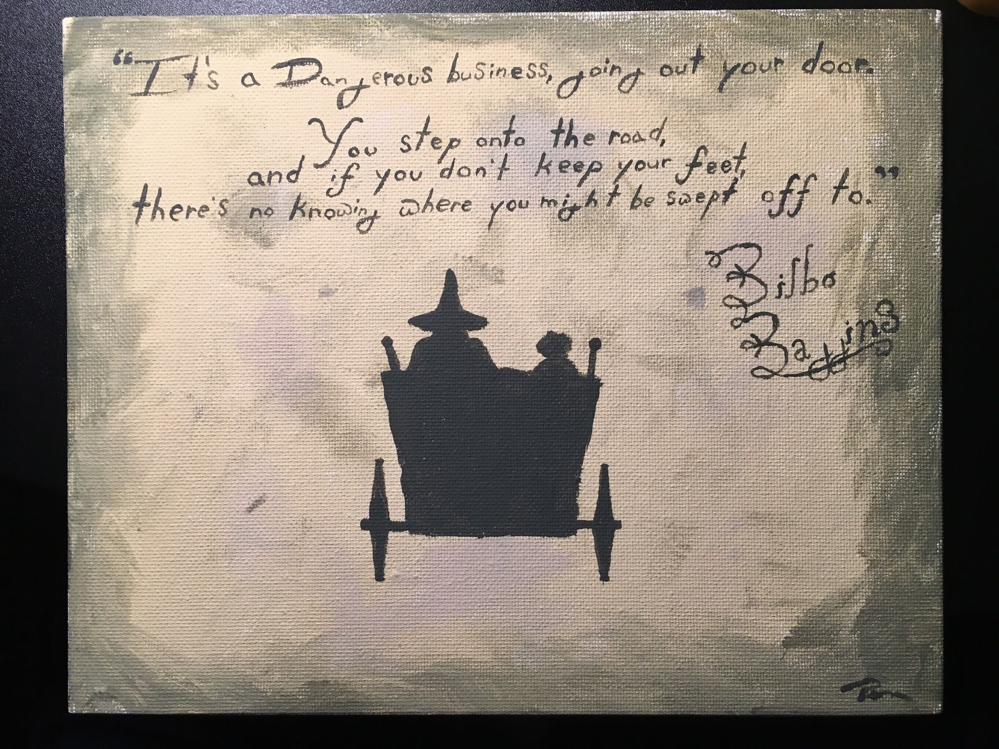 Bilbo Baggins Quote. Frodo And Gandalf On Firework Cart Silhouette.
