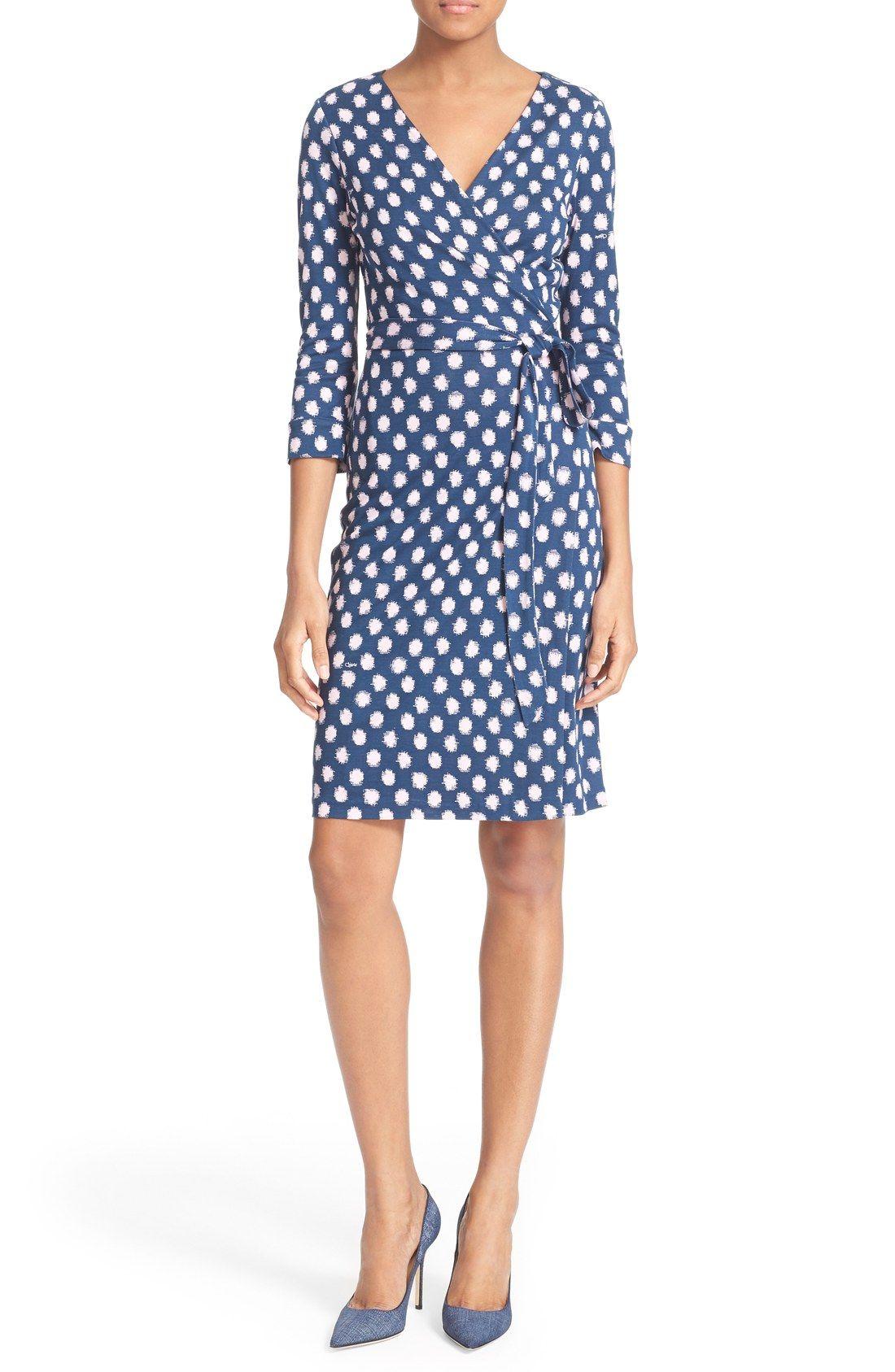 Diane Von Furstenberg New Julian Two Polka Dot Silk Wrap Dress Nordstrom Exclusive Nordstrom Wrap Dress Silk Wrap Dresses Work Dresses For Women [ 1687 x 1100 Pixel ]