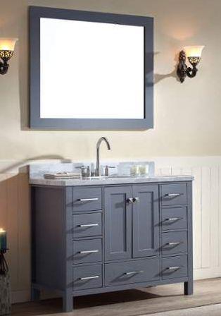 43 Inch Single Sink Bathroom Vanity Set Grey Finish Carrara White Marble Top
