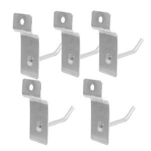 """Amico 5 Pcs 2"""" Silver Tone Metal Wall Hanger Display Hooks by Amico. $4.21. Features: 5 pieces, round tubing, metal material, reatangular bracket. Great garment or jewelry display hook for displaying or organizing your items. Easy to use and convenient for your daily life."""