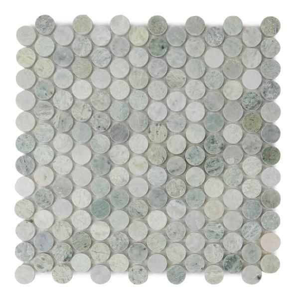 Ming Green Polished Penny Round Mosaic Floor Wall Tile Wall Tiles Marble Polishing Green Marble
