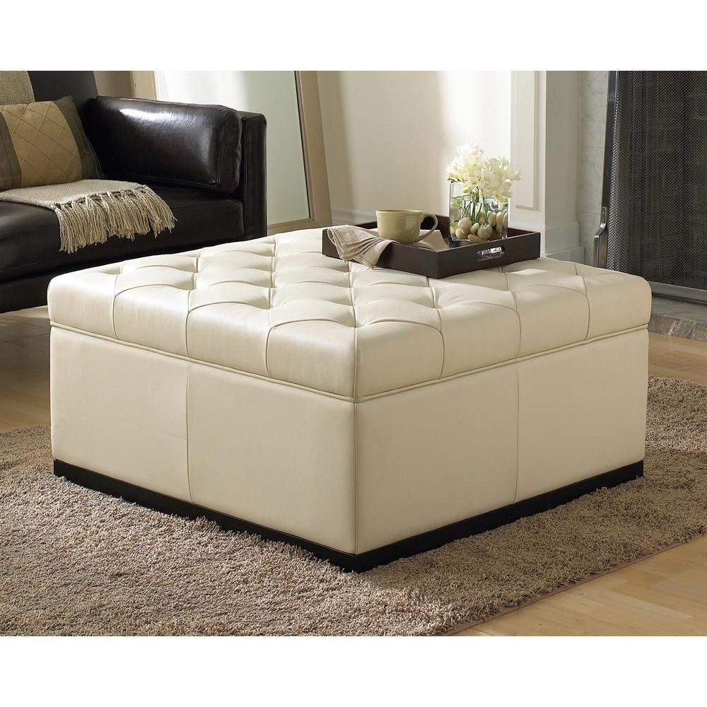 Noah Storage Ottoman Cream Leather