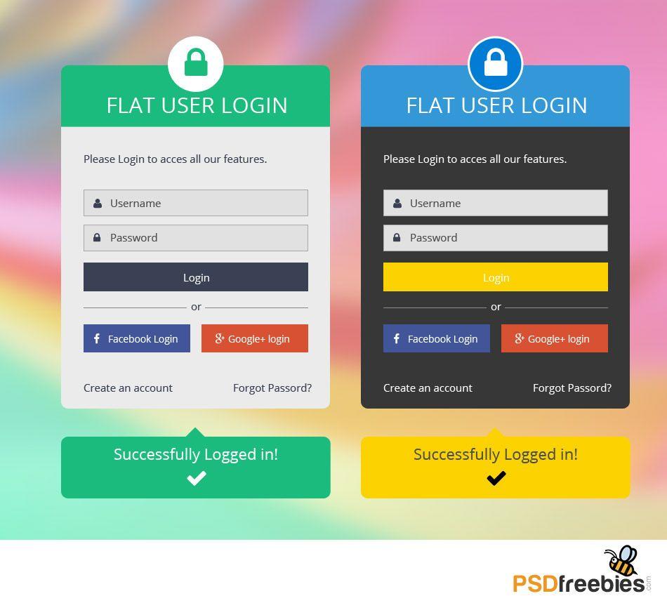 Flat login form psd login form login design web design