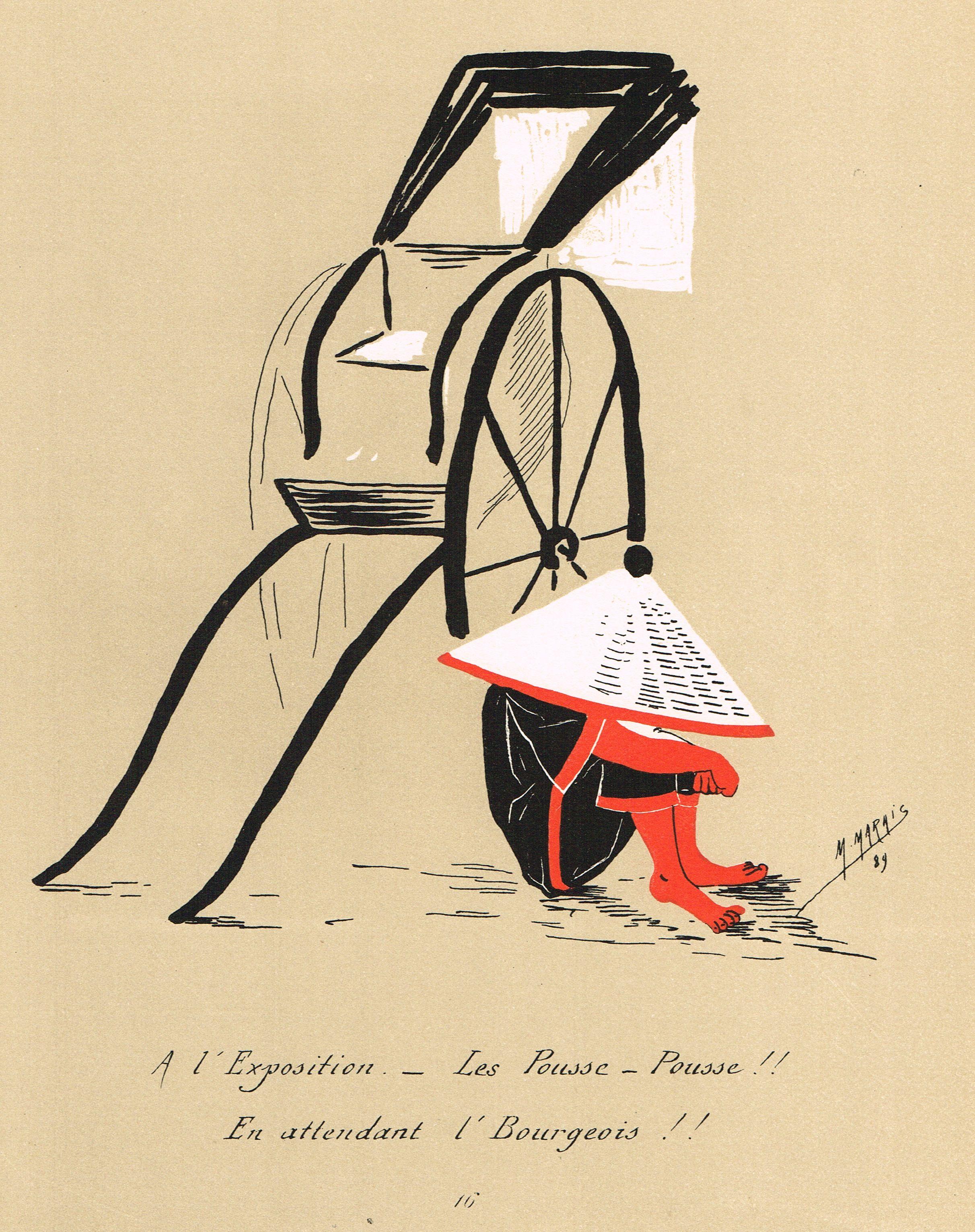 """""""A l'Exposition. - Les Pousse - Pousse !! En attendant l'Bourgeois !!"""" - Silhouettes Fantaisistes par Maurice MARAIS - 2ème série - planche 16 - MAS Estampes Anciennes - MAS Antique Prints"""