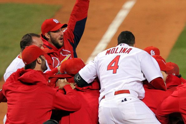 celebration after game 6. Freese is in there somewhere   :)))