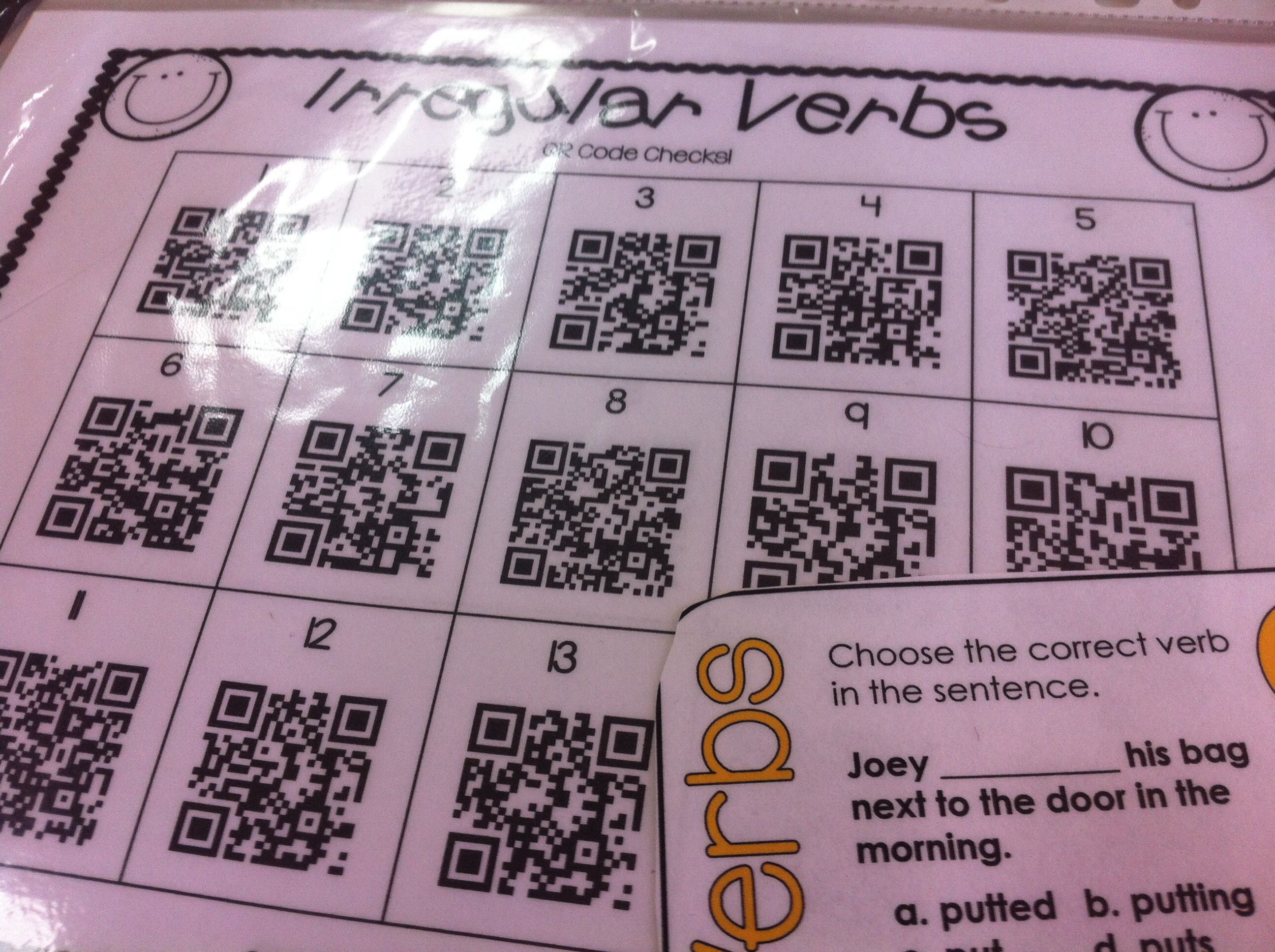 Irregular Verbs Task Cards Pack With Qr Code Checks Find It At The Store Yara Esl World